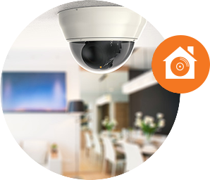 Security camera on ceiling in home